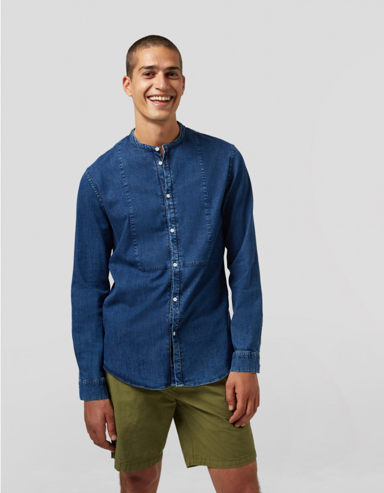 Camicia Coreana In Denim - Dondup