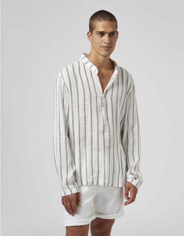 Camicia Coreana Over In Lino Rigato - Dondup