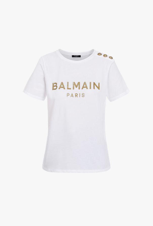 T-Shirt Bianca In Cotone Con Logo Balmain Bronzo - Balmain