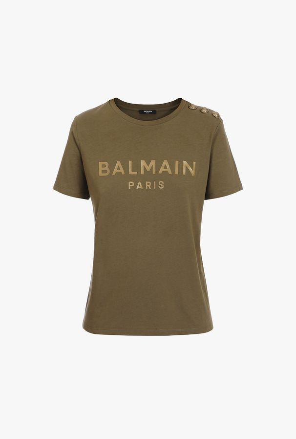 T-Shirt Kaki In Cotone Con Logo Balmain Bronzo - Balmain