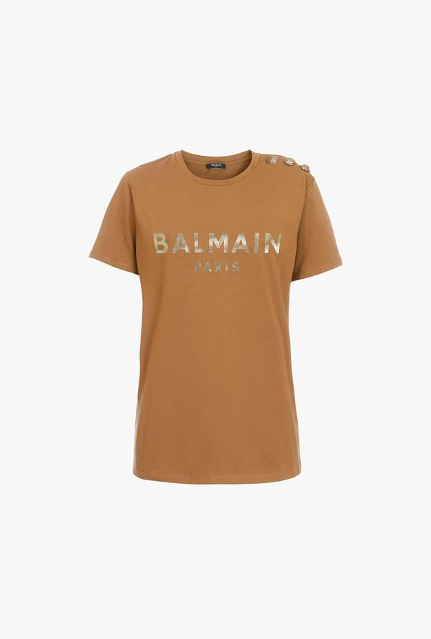T-Shirt Color Nocciola In Cotone Con Logo Balmain Bronzo - Balmain