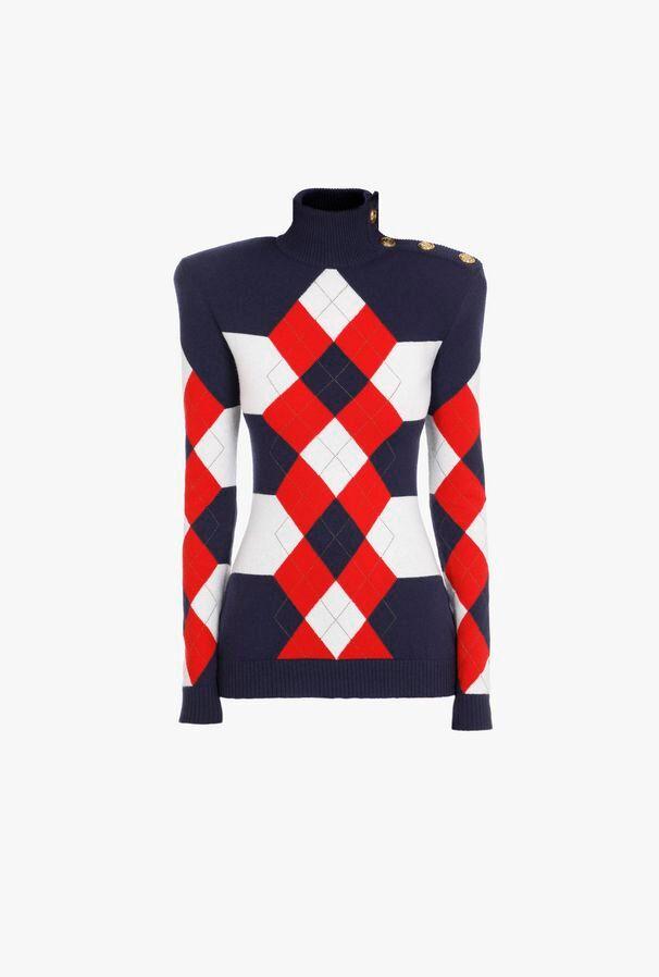 Pullover A Righe In Maglia Con Motivi Bianchi, Rossi E Blu - Balmain