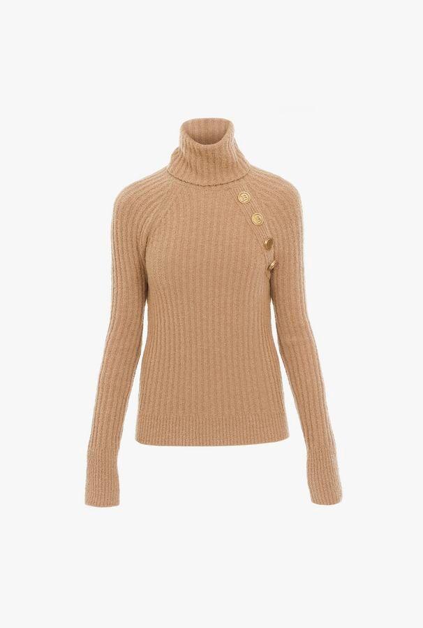 Pullover Dolcevita Color Cammello - Balmain