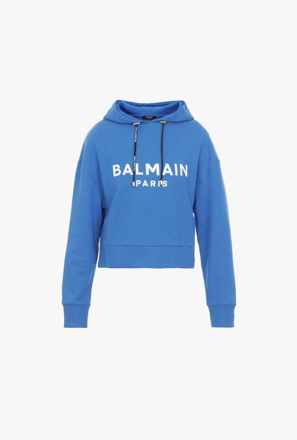 Felpa Corta Con Cappuccio Blu In Cotone Con Logo Balmain Bianco - Balmain