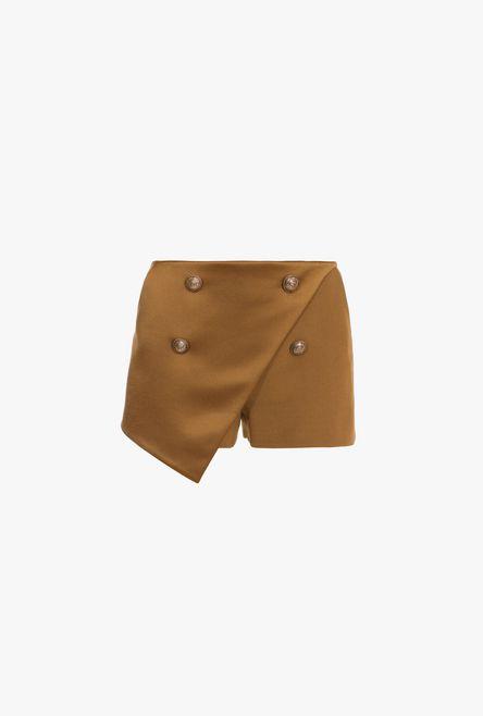 Shorts A Vita Alta Color Nocciola Con Doppi Bottoni Dorati - Balmain