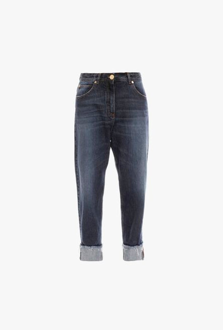 Jeans Boyfriend A Vita Alta Blu In Denim Grezzo - Balmain
