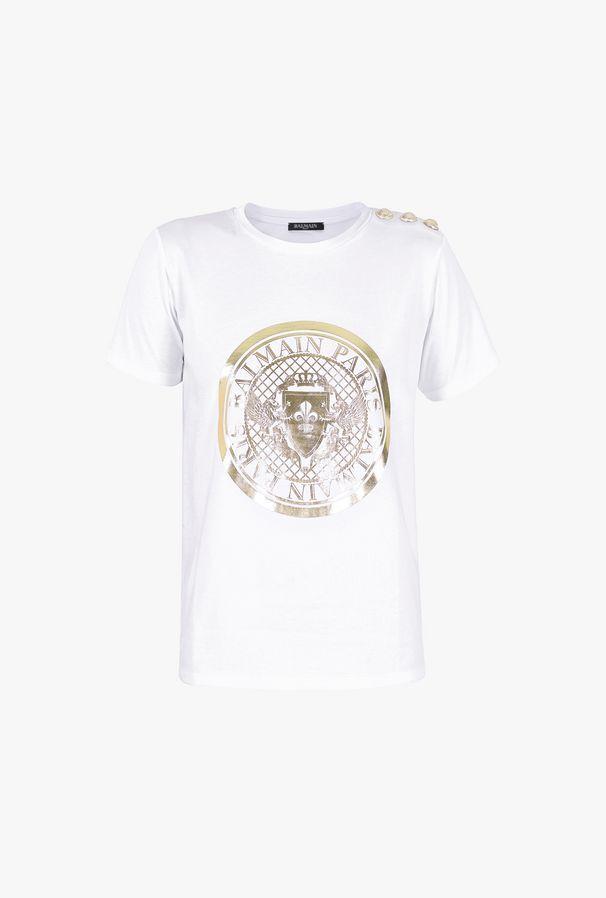 T-Shirt Bianca In Cotone Con Stampa Medaglione Balmain Dorato - Balmain