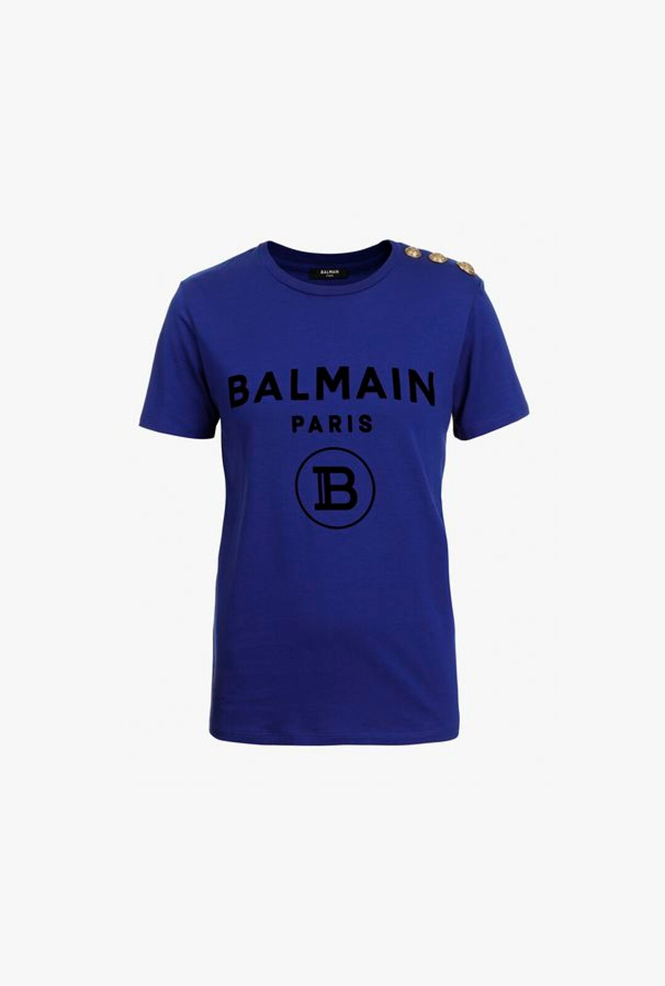 T-Shirt Blu In Cotone Con Logo Balmain Nero - Balmain