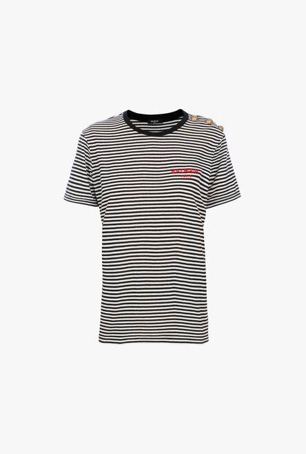 T-Shirt A Righe Nere E Bianche In Cotone Con Logo Balmain Rosso - Balmain
