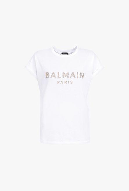 T-Shirt Bianca In Cotone Con Logo Balmain In Paillettes Dorate - Balmain