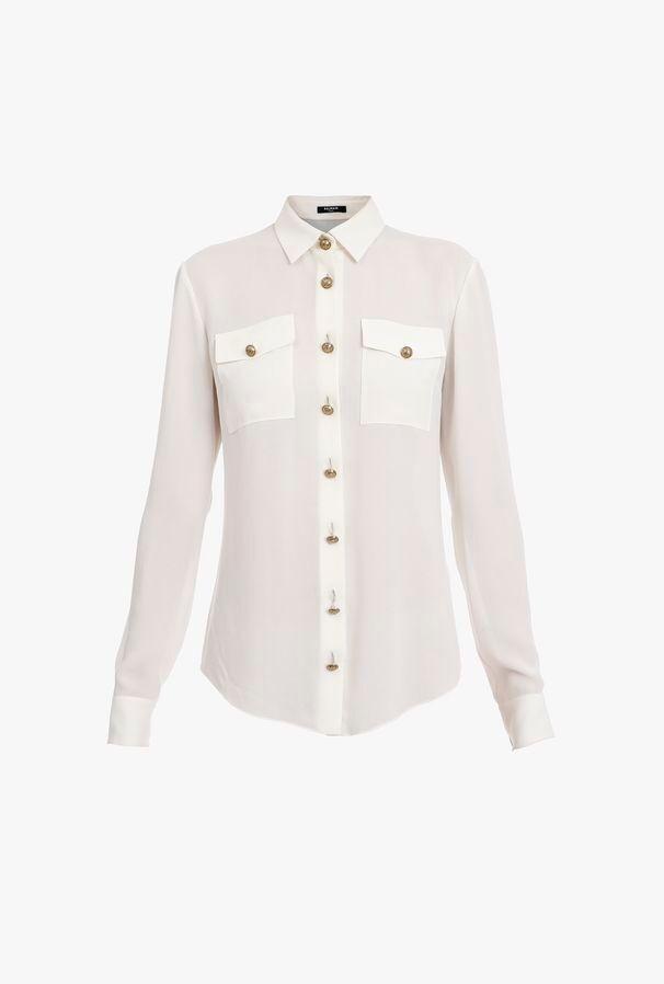 Camicia Bianca In Georgette - Balmain