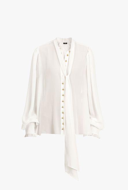 Blusa In Georgette Con Fiocco Bianco - Balmain