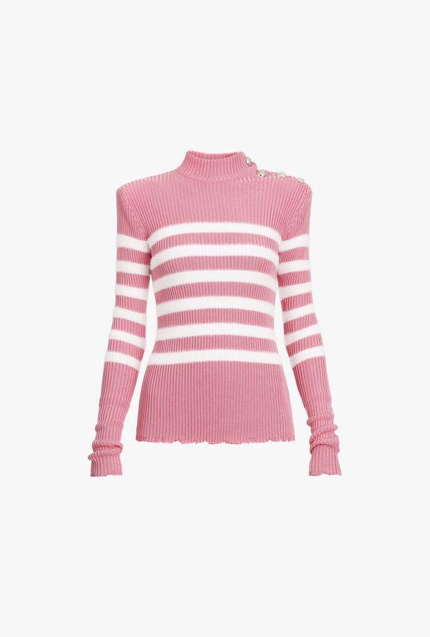 Pullover A Righe Rosa E Bianche In Maglia Con Bottoni Dorati - Balmain