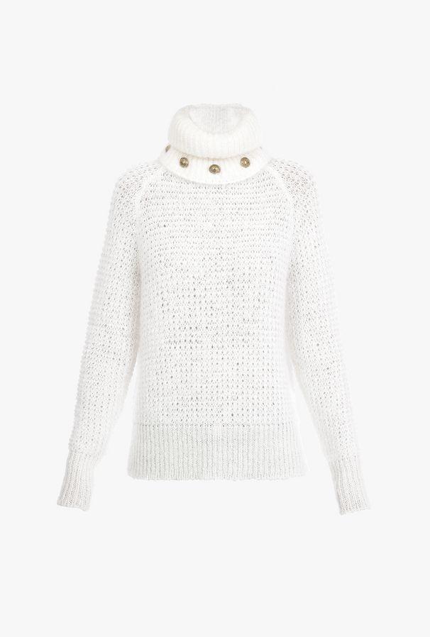 Pullover Bianco In Mohair Con Collo Dolcevita Removibile - Balmain