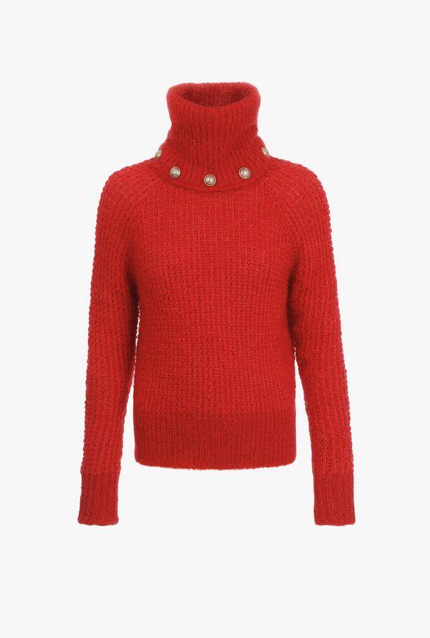 Pullover Rosso In Mohair Con Collo Dolcevita Removibile - Balmain