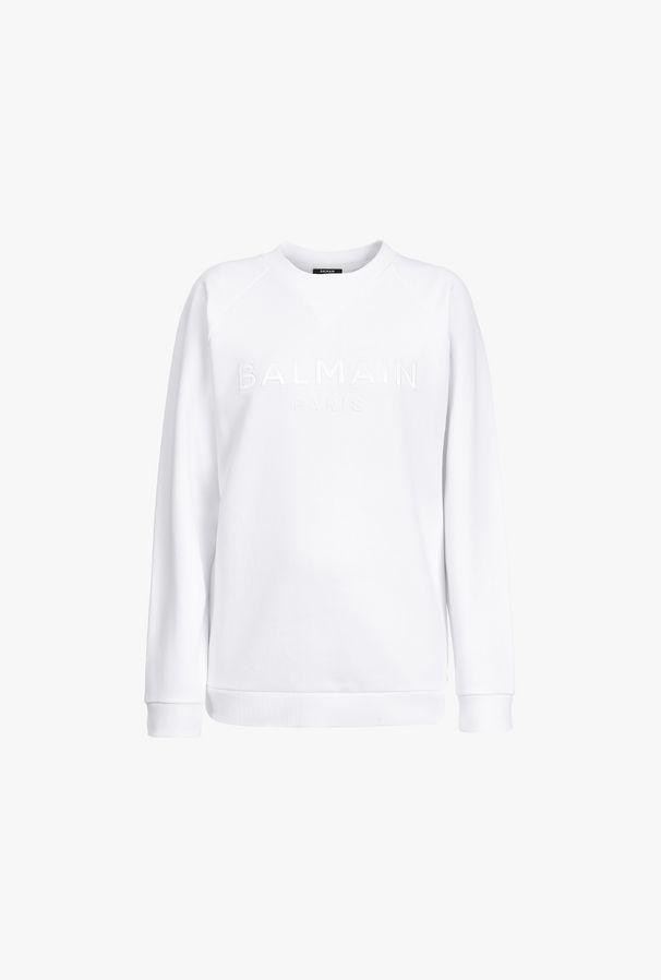 Felpa Corta Bianca In Cotone Con Logo Balmain Bianco In Raso - Balmain