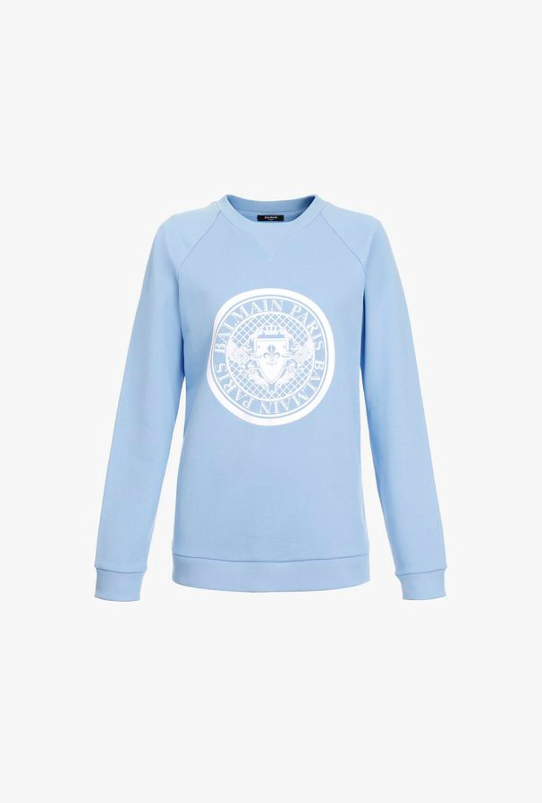 Felpa Blu Ghiaccio In Cotone Con Logo Balmain Bianco In Raso - Balmain