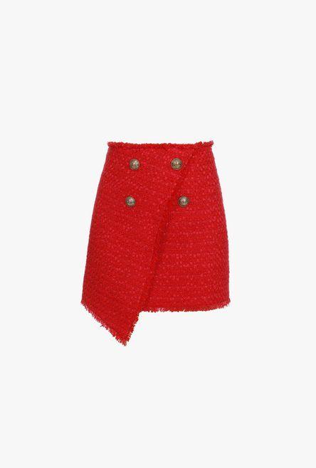 Gonna A Portafoglio Asimmetrica Rossa In Tweed Con Bottoni Dorati - Balmain