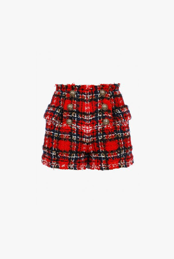 Shorts A Vita Alta Rossi In Tartan Di Tweed - Balmain
