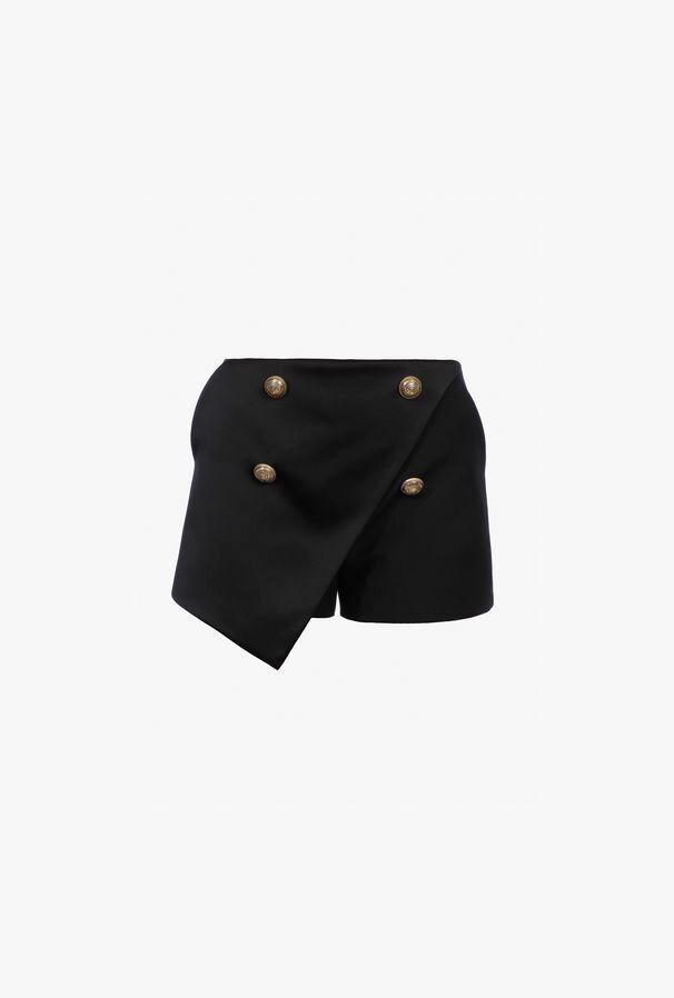 Shorts Asimmetrici Neri In Lana - Balmain