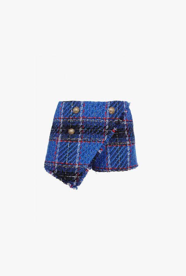 Shorts Asimmetrici Blu In Tartan Di Tweed - Balmain