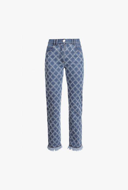 Jeans A Vita Bassa Blu In Denim Con Motivi A Griglia - Balmain