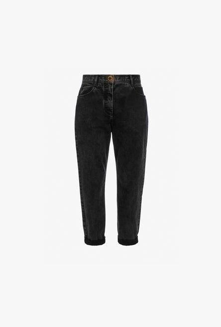 Jeans Boyfriend Neri In Denim Effetto Sbiadito - Balmain