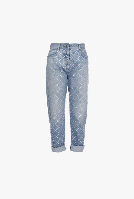 Jeans Boyfriend Blu In Denim Con Strass Argentati - Balmain