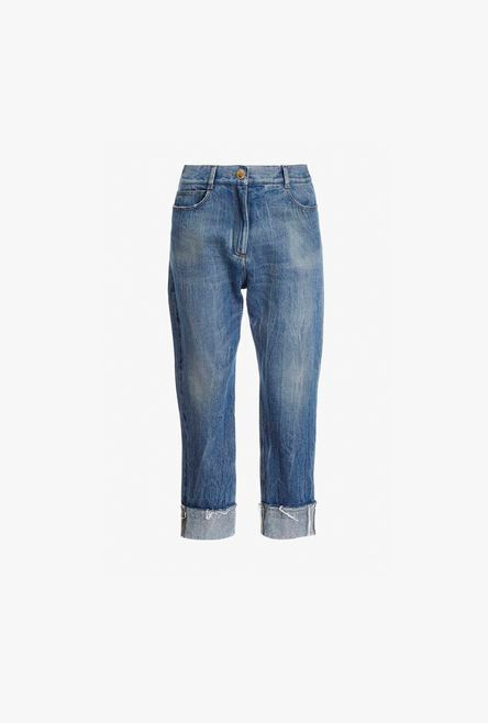Jeans Boyfriend Blu In Denim Vintage - Balmain