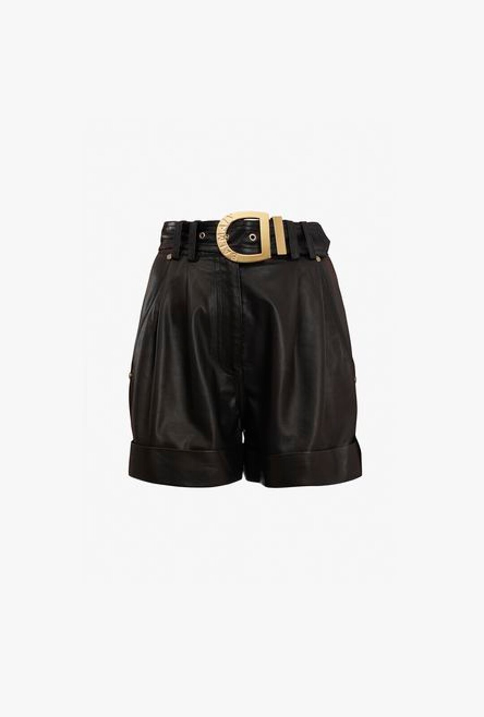 Shorts A Vita Alta Neri In Pelle - Balmain