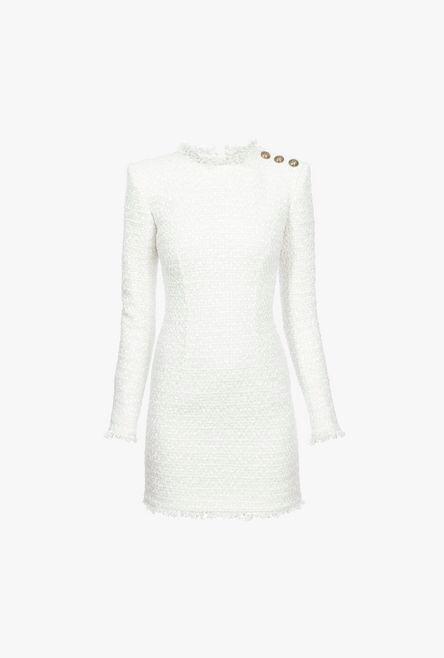 Abito Corto Bianco In Tweed Con Bottoni Dorati - Balmain