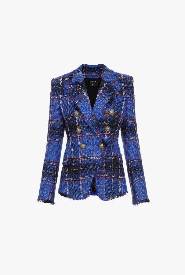 Blazer Doppiopetto Blu In Tartan Di Tweed Con Bottoni Dorati - Balmain