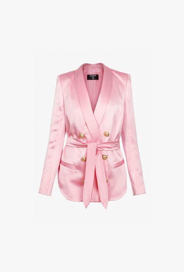 Blazer Rosa In Raso Con Cintura - Balmain