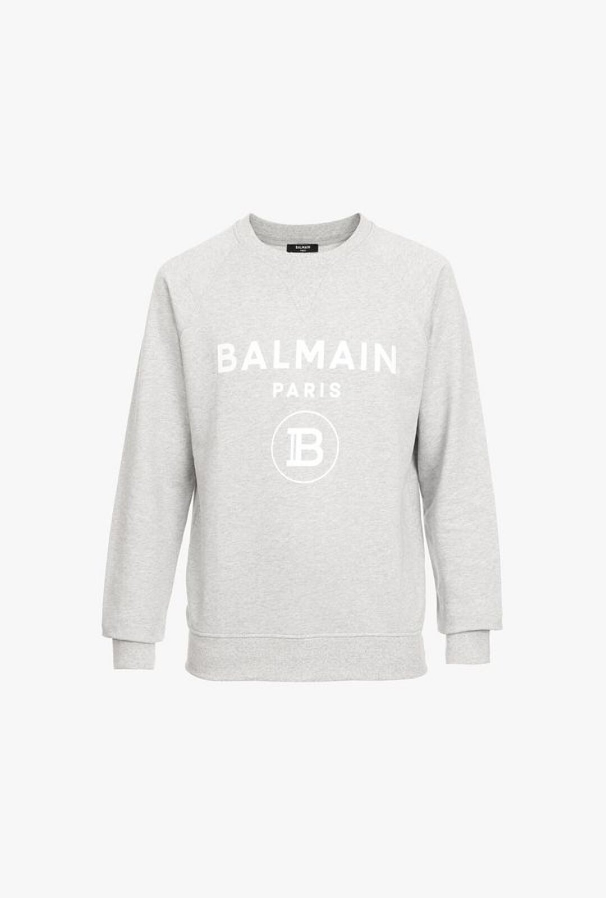 Felpa Grigia In Cotone Con Logo Balmain Paris Bianco - Balmain
