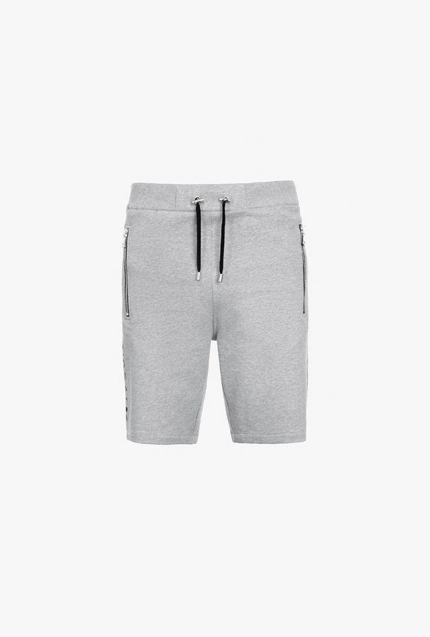 Shorts Grigi In Cotone Con Logo Balmain Nero - Balmain