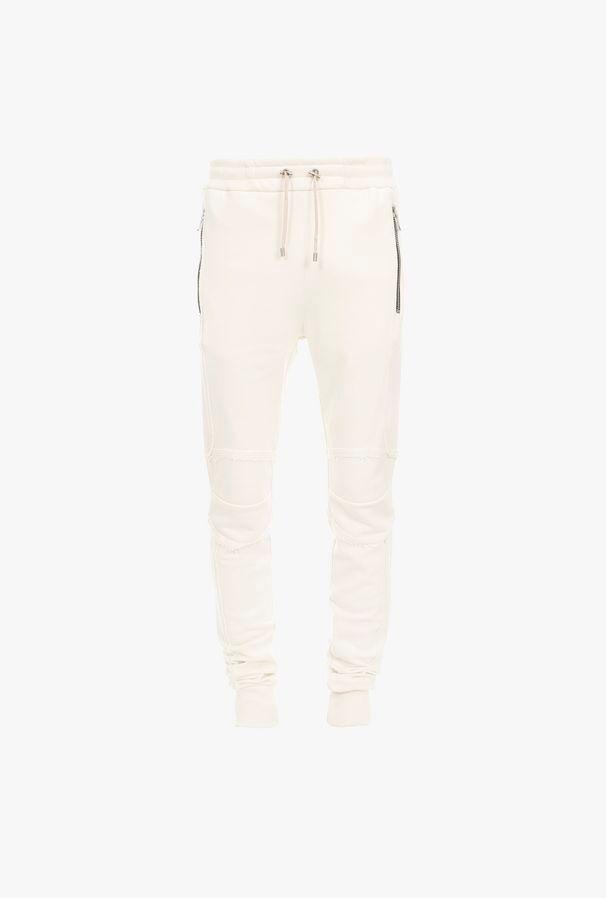 Pantaloni Sportivi Écru In Cotone - Balmain