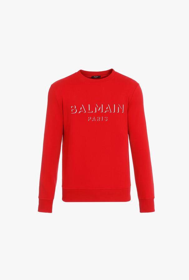 Felpa Rossa In Cotone Con Logo Balmain Bianco Effetto 3D - Balmain