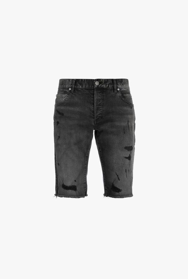 Shorts Neri In Cotone Con Strappi - Balmain