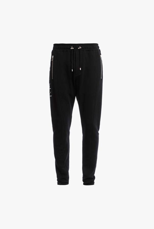Pantaloni Sportivi Neri In Cotone Con Logo Balmain Bianco Effetto 3D - Balmain