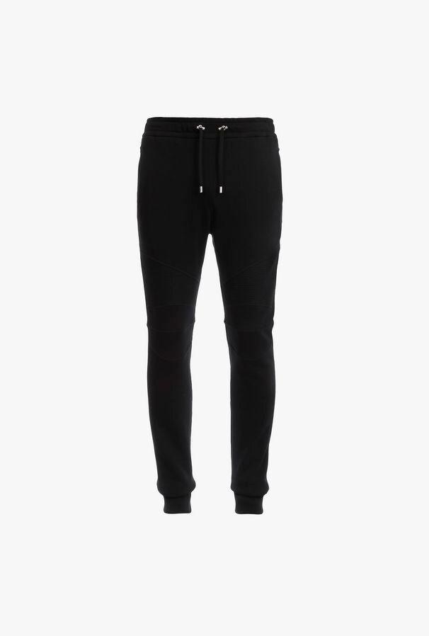 Pantaloni Sportivi Neri In Cotone Con Stampa Logo Balmain Argentato - Balmain