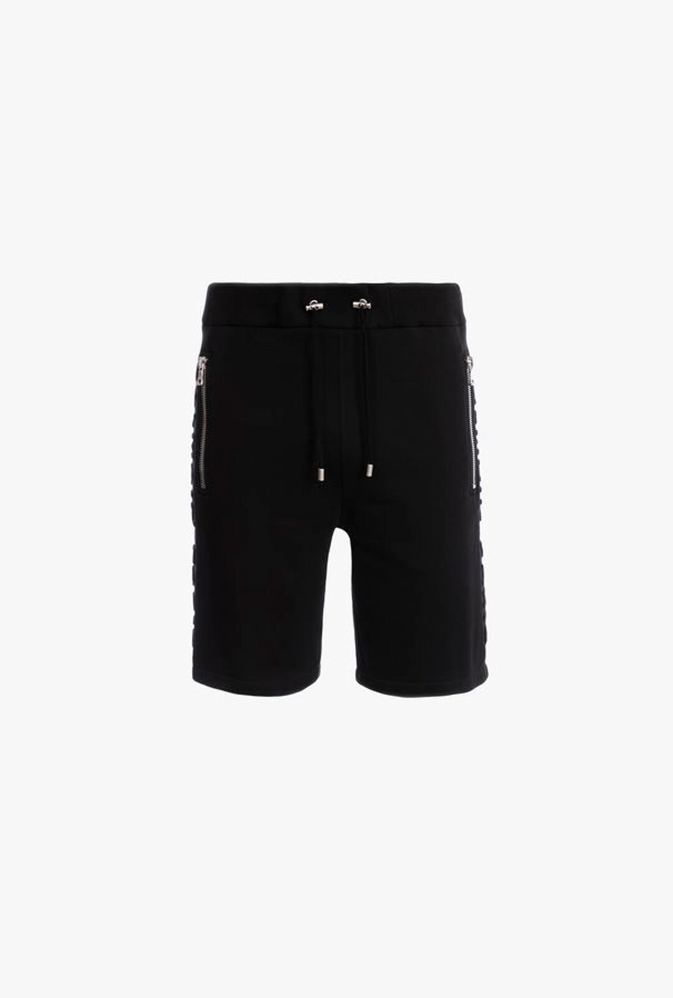 Shorts Neri In Cotone Con Logo Balmain Paris Goffrato Nero - Balmain