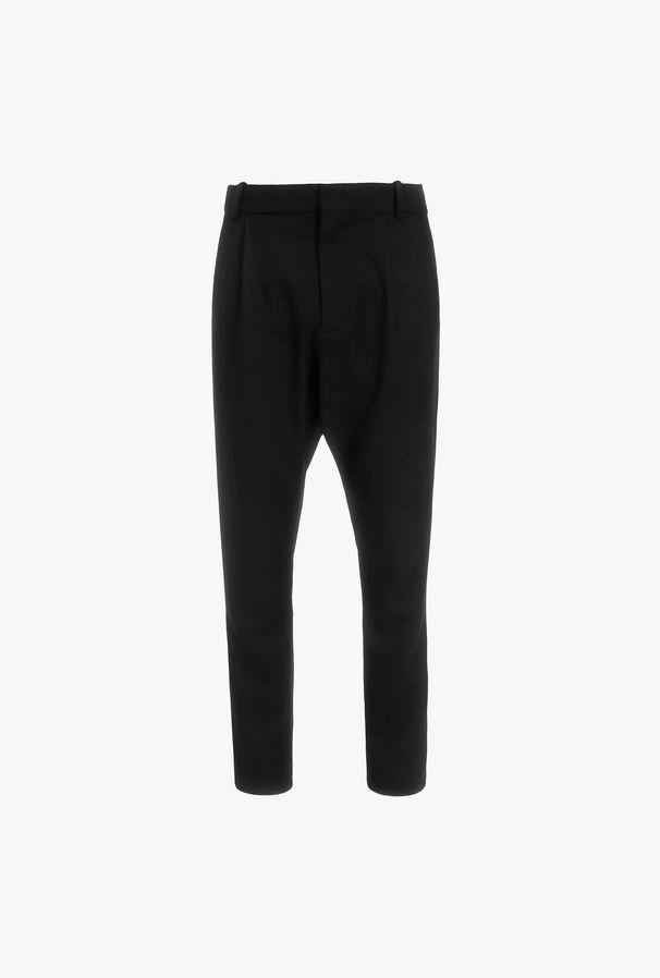Pantaloni Harem Neri In Lana - Balmain