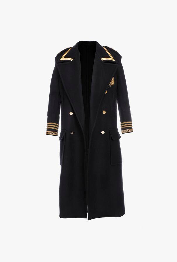 Cappotto Doppiopetto Lungo Blu Navy In Feltro Con Bottoni Dorati - Balmain