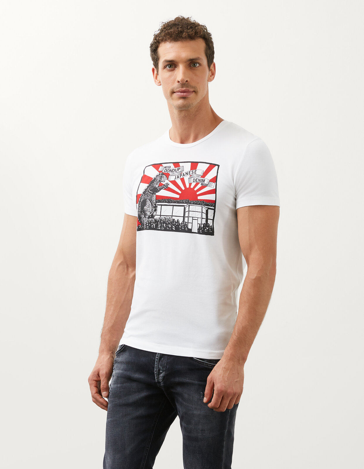 Slim T-Shirt With Japanise Print In Jersey - Dondup