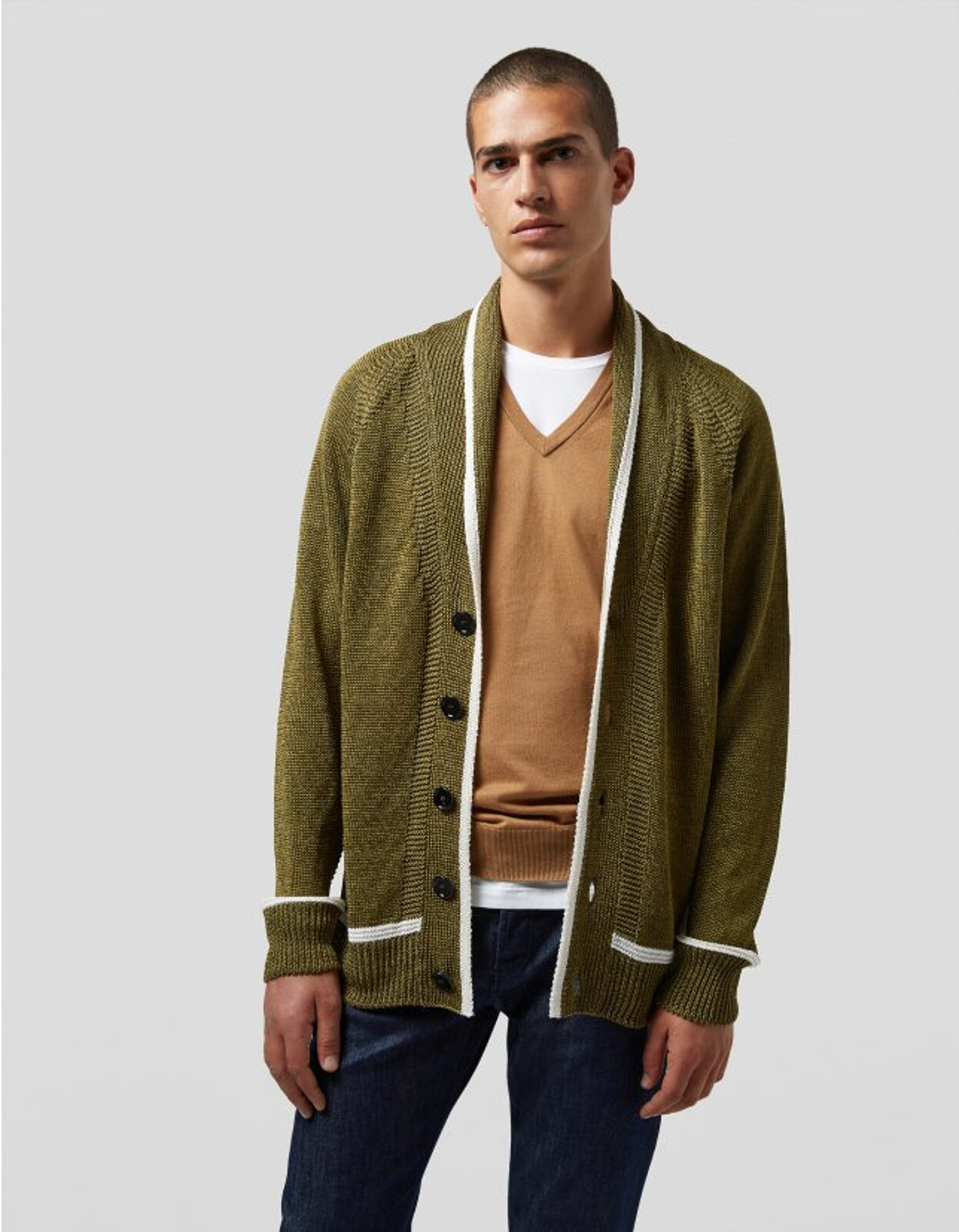 Cardigan In Lino E Viscosa - Dondup