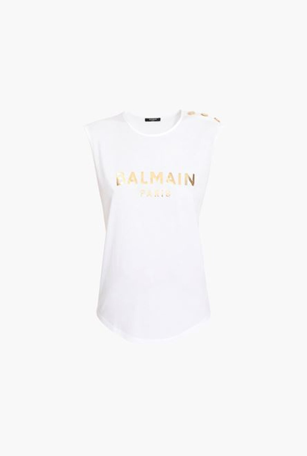 T-Shirt Bianca In Cotone Con Logo Balmain Dorato - Balmain