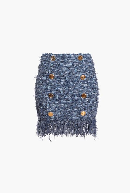 Gonna Corta Blu In Tweed Con Frange - Balmain