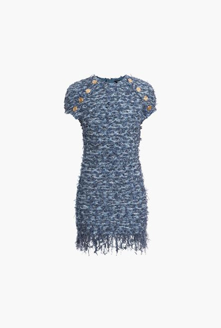 Abito Corto In Tweed Blu Con Frange - Balmain