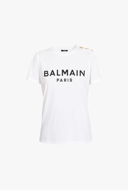 T-Shirt Bianca In Cotone Con Logo Balmain Nero - Balmain