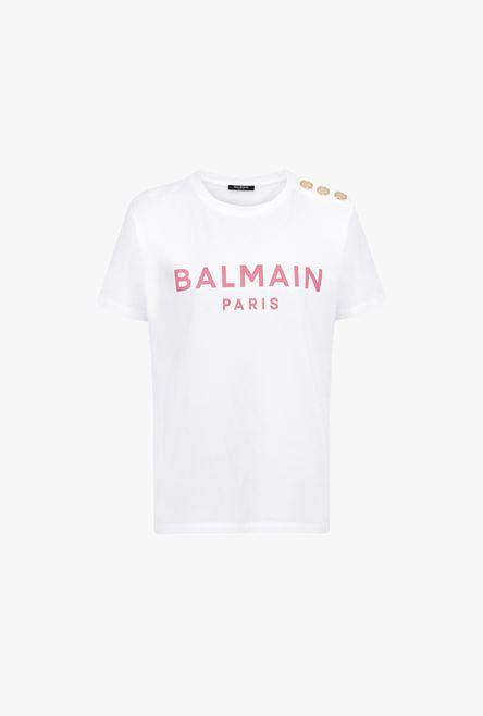 T-Shirt Bianca In Cotone Con Logo Balmain Rosa - Balmain